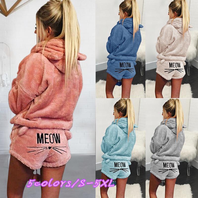 497ca1710ca29 Women Warm Cute Cat Two Piece Hoodie Sleepwear Winter Plus Size ...