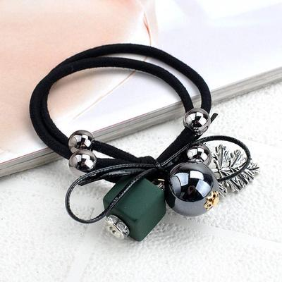 Square Double Strands Beads Geometry Leaves Tassel Rubber