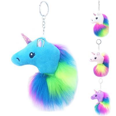 4c45dd3182 Buy · Horse Cute Metal Unicorn Plush Toy Pendant Fluffy Fur Pom Pom Keyring  Bag Hang Plush Key