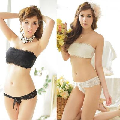 a7a03dee1b Sexylady lace Strapless Push-up Wrap Bra Sets padded Bralette Bustier  Cropped Tops Unlined tank
