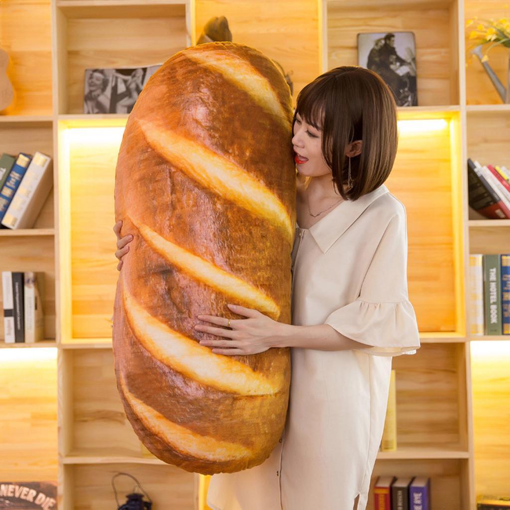 3D Simulation Bread Shape Pillow Soft Lumbar Back Cushion Plush Stuffed Toy Gift