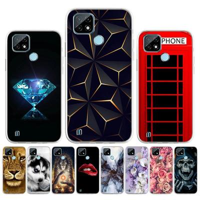 For Realme C21 Case Soft Silicone Phone Bumper For OPPO Realme C21 C 21 RMX3201 6.5 Inch RealmeC21 Marble Crack Painted Back Cover