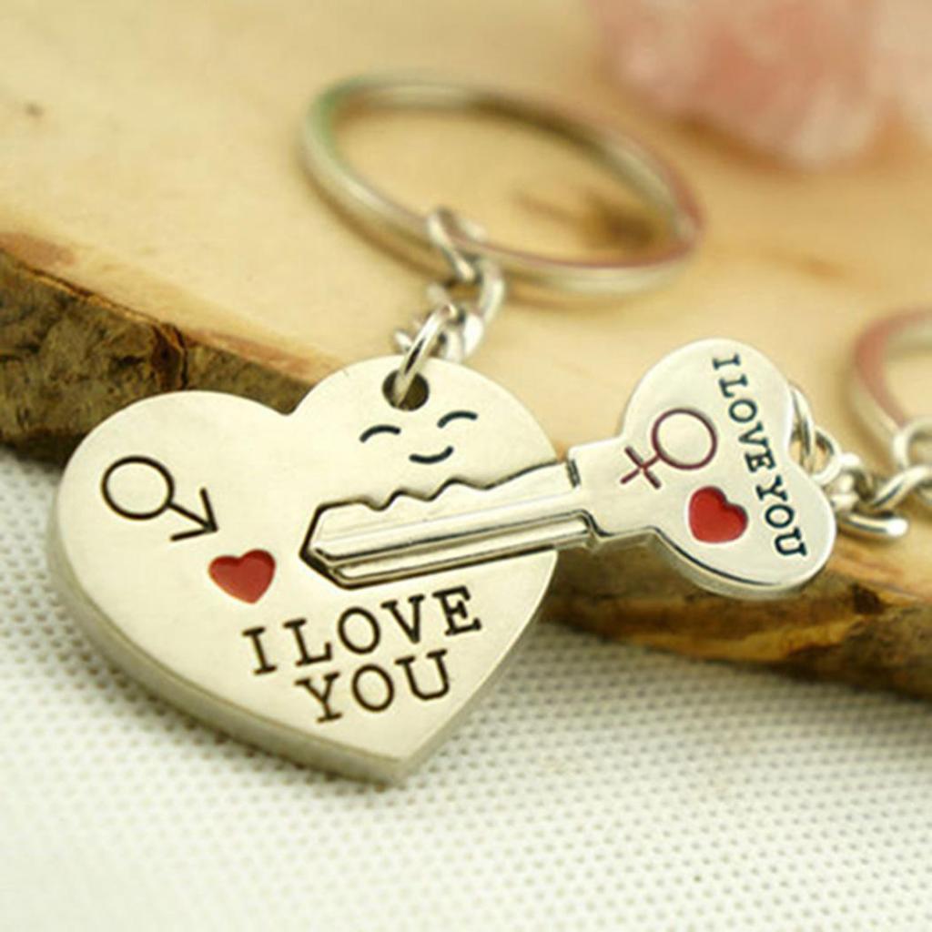 "Key Couple Key Chain Ring Keyring Keyfob New 1 Pair /""I Love You/"" Heart+Arrow"