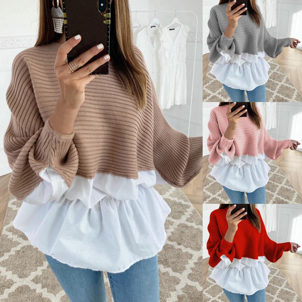Женщины Длинные рукава Frill Ruffle Топы Дамы случайные Loose Pullover t-Shirt блузка – купить по низким ценам в интернет-магазине Joom