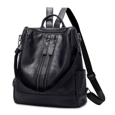 8039d3f61044 Высокое качество PU кожа женщин черный рюкзак твердых ранцы для подростка  девушки девушки Рюкзаки