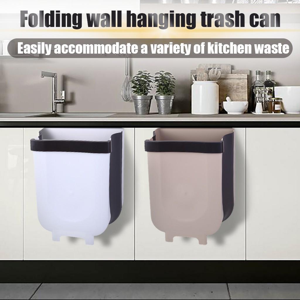 Wall Mounted Folding Waste Bin Kitchen Cabinet Door Hanging Trash Bin