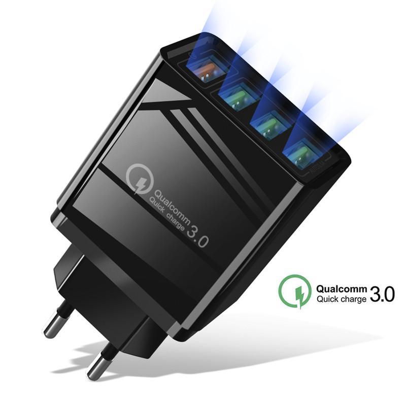 4 Порты USB 3.0 КК Зарядное устройство Телефон Быстрая стена зарядное устройство для iPhone X Samsung S10 ЕС / США Plug Адаптер