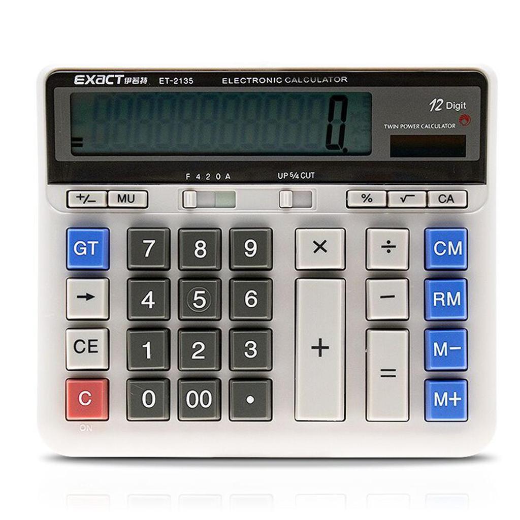 Large Display 12 Digit Calculator Solar Battery Dual Power Desktop Calculator Accounting Electronic Calculator Automatic Shutdown /& Detachable Keycaps for Student School Scientific Calculator