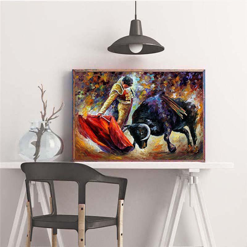 Diamond painting 5D DIY picture rhinestone oil painting bullfighting 5D DIY diamond embroidery decoration home