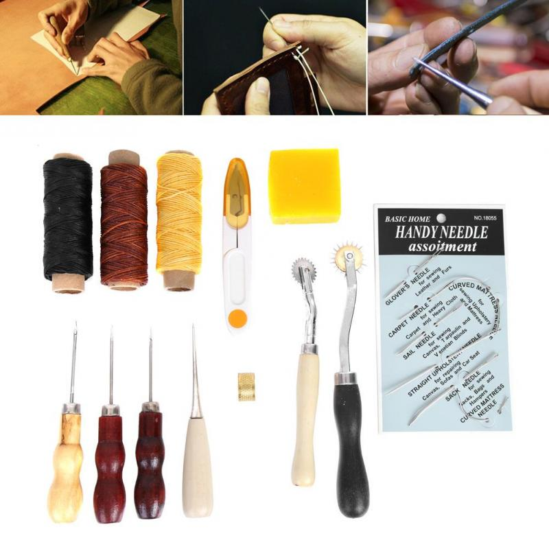 7pcs Set Leather Craft Sewing Tools Awl Costura Hand Stitching Thread Waxed