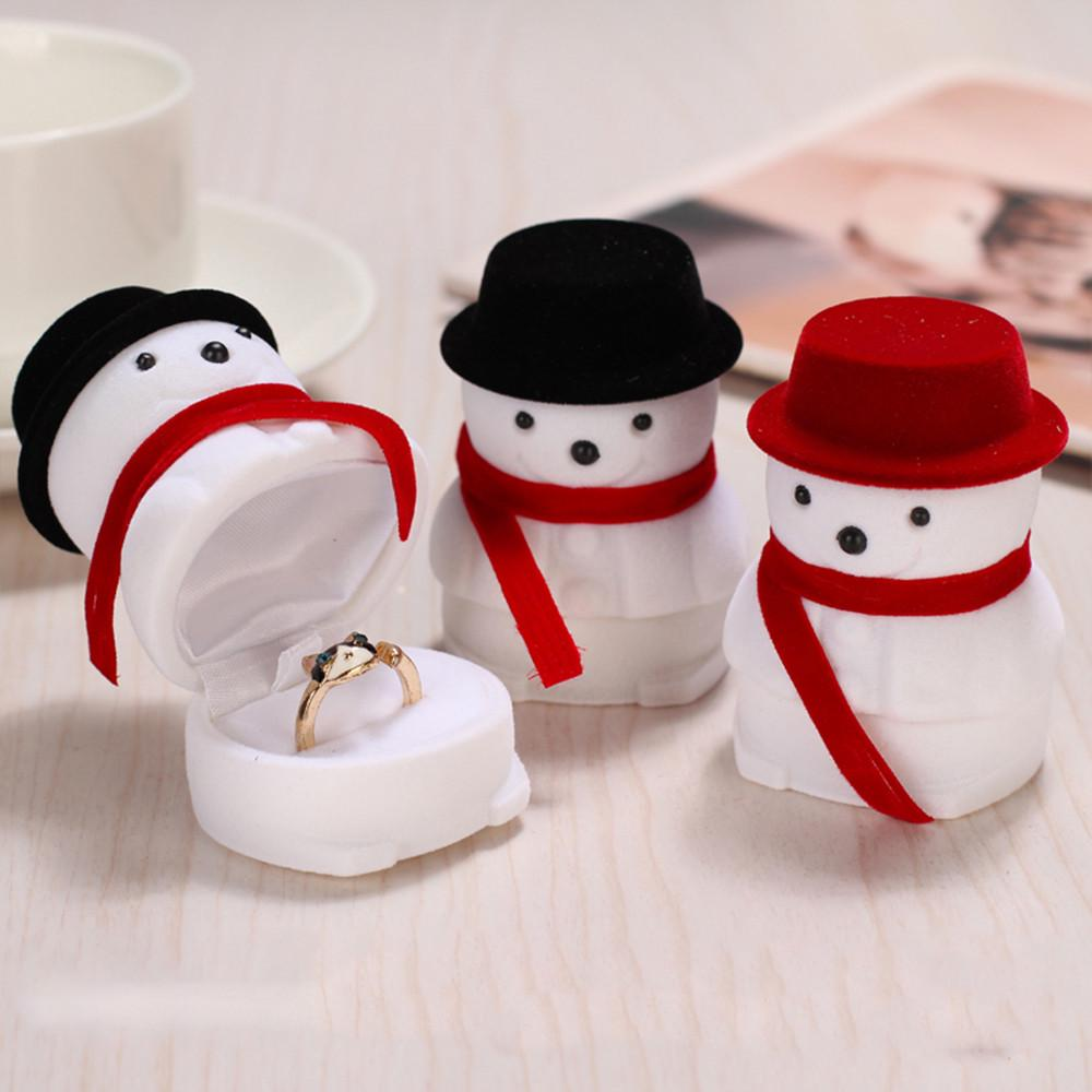 Black Hat Snowman Ring Box Christmas Gift Display Case Stud Earrings Jewellery