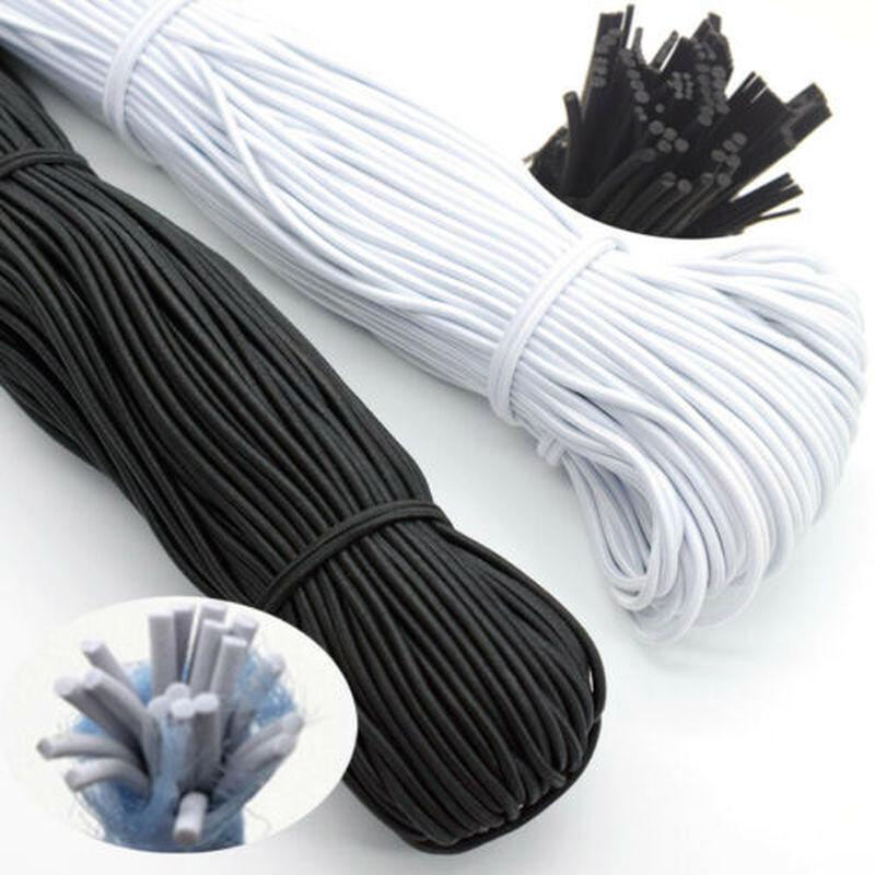 2.5mm Black White Round Stretch Elastic Cord Waist Band for Woven Sewing Trouser
