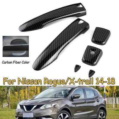 8PCS Carbon Fiber Outer Door Bowl Cover Trim For Nissan Rogue X-Trail 2014-2018