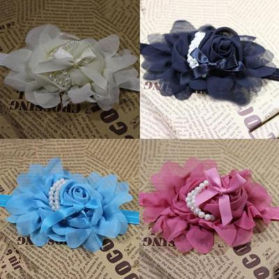 Baby Girls Headband Bow Rose Headwear Hair Accessories Double-Layer Embroidery