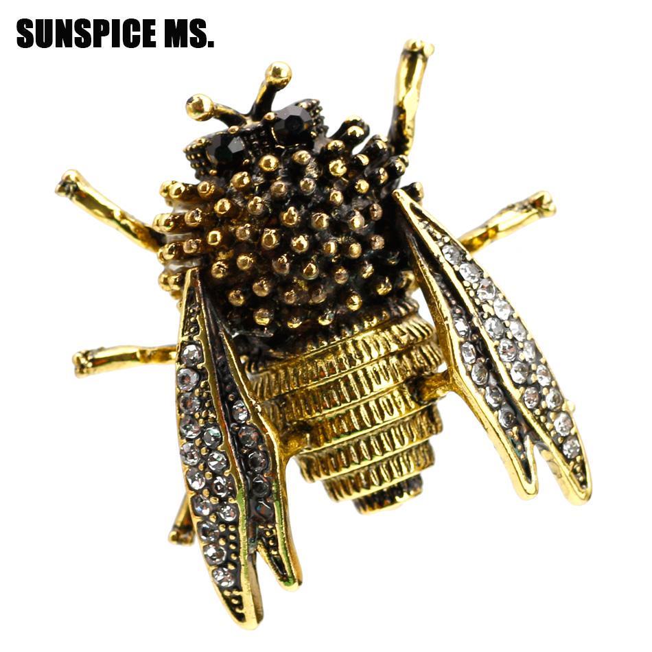 Sequin golden Vintage Bug Moth Brooch pin badge