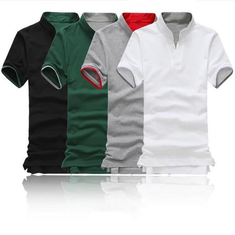 Camiseta para hombre moda algodón cuello Sport Casual Polo delgado ... 9698e82c732a3