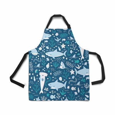 Blue Jacobean Wild Flowers Kitchen Apron