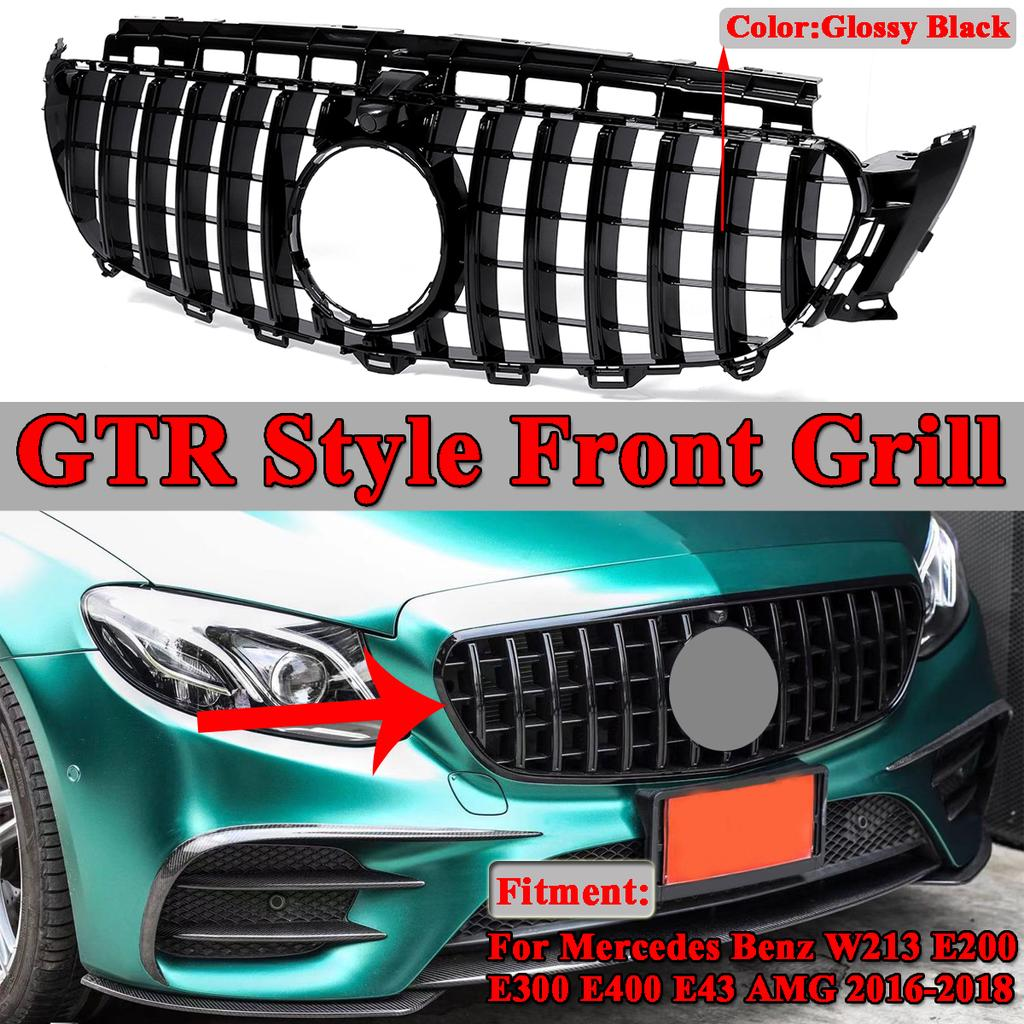 Fit For Mercedes-Benz New E-Class W213 E300 Sedan Sport 2017 2018 2019 2020 Chrome Front Lower Grill Grille Cover Trims