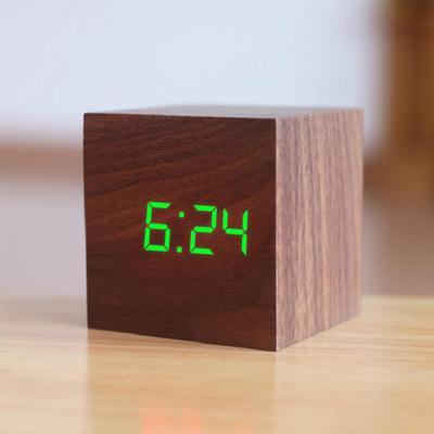 Digital LED USB Desk Wooden Square Alarm Clock Table Voice Control Decoration