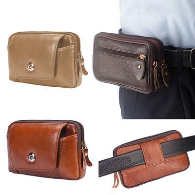 Men/'s Business Phone Holder Bag PU Leather Zipper Flap Waist Pack Belt Purse