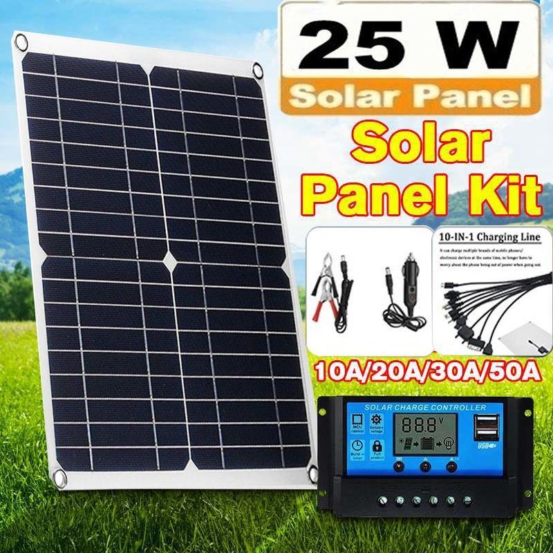12V//24V Dual USB Flexible Solar Panel Battery Charger Kit Boat Car Controller