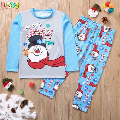 Christmas Parent-Child Suit Cartoon Letter Top+Deer Pants Family Pajamas Family Accessory Clothing