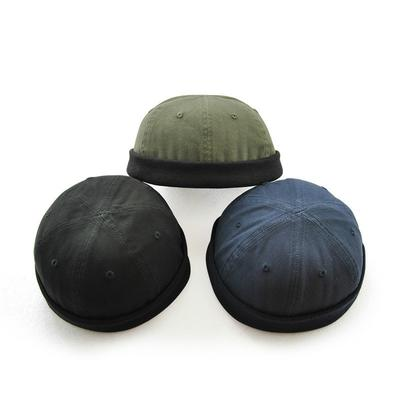 e7ec28f4524 Fashion Man Retro Skullcap Hat Cap Rolled Cuff Brimless Adjust ...
