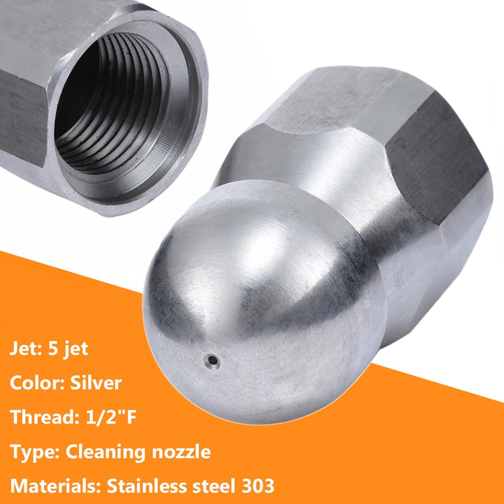 """3//8/"""" 1//2/'/'F Pressure Washer Drain Sewer Cleaning Pipe Jetter Rotary Nozzle 5 Jet"""