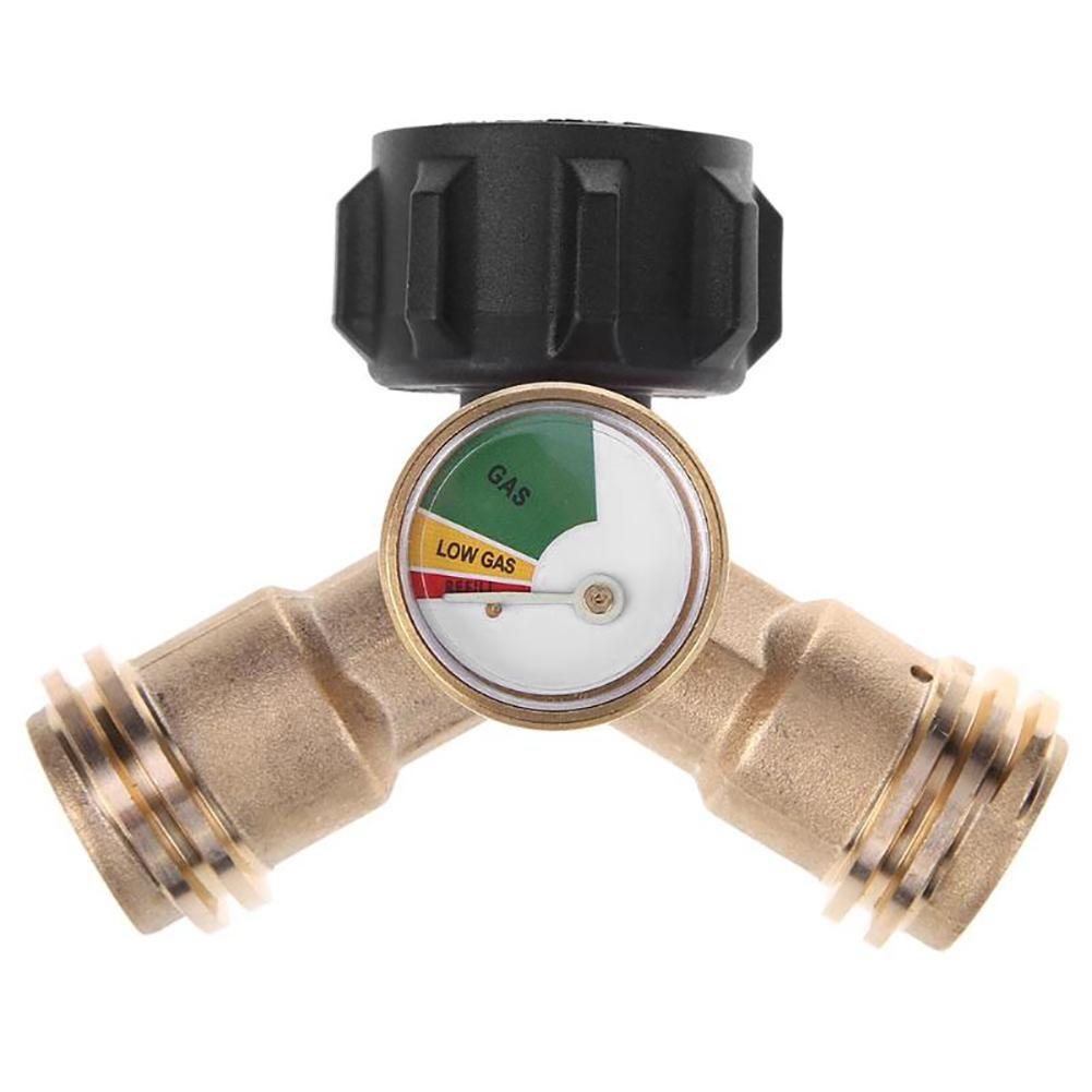 Outdoor gas stove propane y type distributor printed tees adapter connector  1 male qcc 2 female