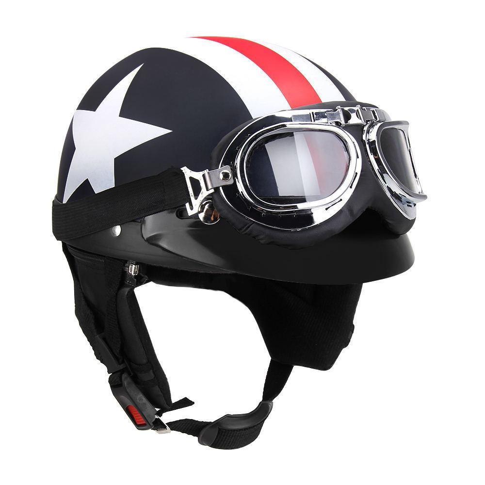 71bff62e3a2 Medio casco de la motocicleta de la cara con gafas visera pañuelo motero  vespa Touring casco para Harley - comprar a precios bajos en la tienda en  línea ...