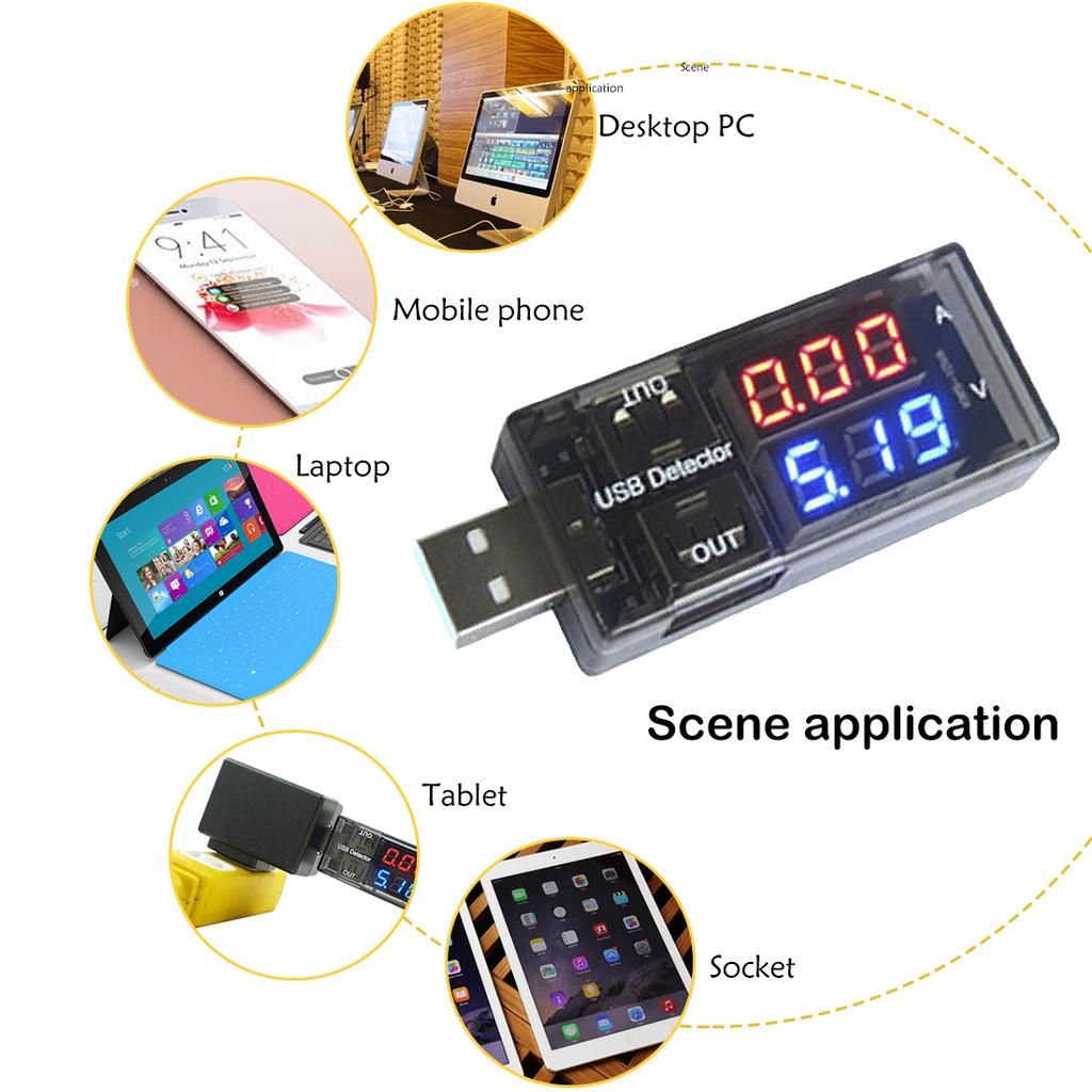 1PCS USB Current Voltage Tester Voltage Ammeter USB Detector Double Row Shows