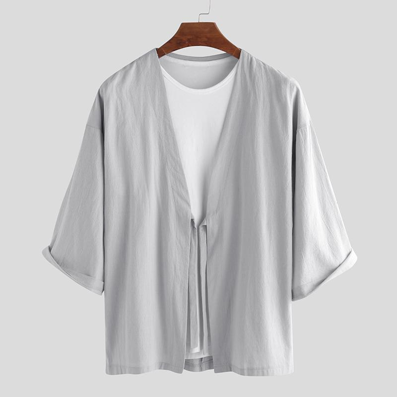 Men Japanese Kimono T Shirt 3//4 Sleeves Summer Beach Cloak Jacket Coat Top Shirt