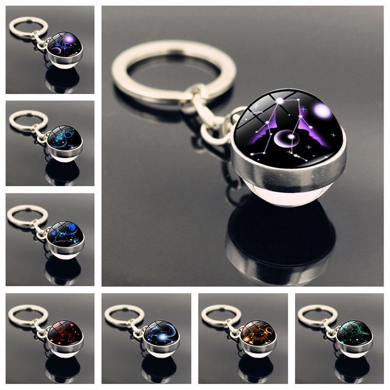 12 Constellation Keychain Glass Ball Pendant Key Rings Glow In The Dark Gift Men