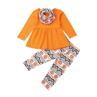 Toddler Baby Kid Girls Halloween Solid Tops+Pumpkin Print Pants+Headband Outfits