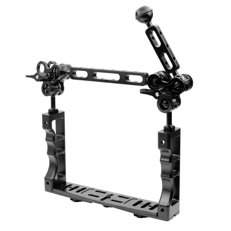 Adjustable Diving Dual Hand-held CNC Aluminum Lamp Arm Holder for Diving Underwater Photography System Durable