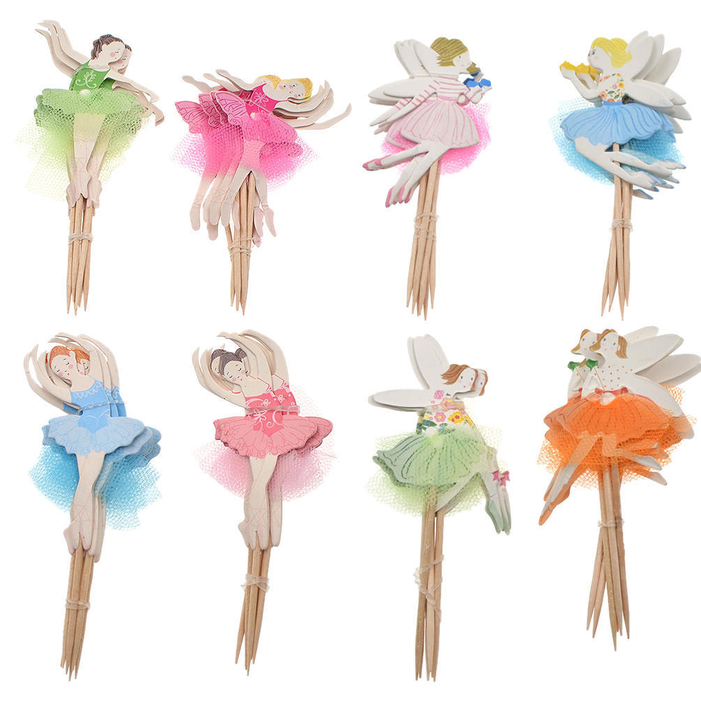 24pcs Ballerina Fairy cupcake wrappers /& toppers kids birthday party supplies