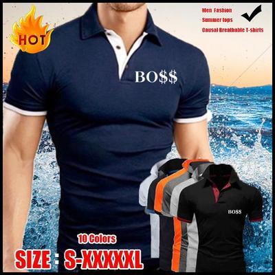 2021 New Men's Fashion Summer Cotton Short Sleeve Casual Solid Color Polo Shirt
