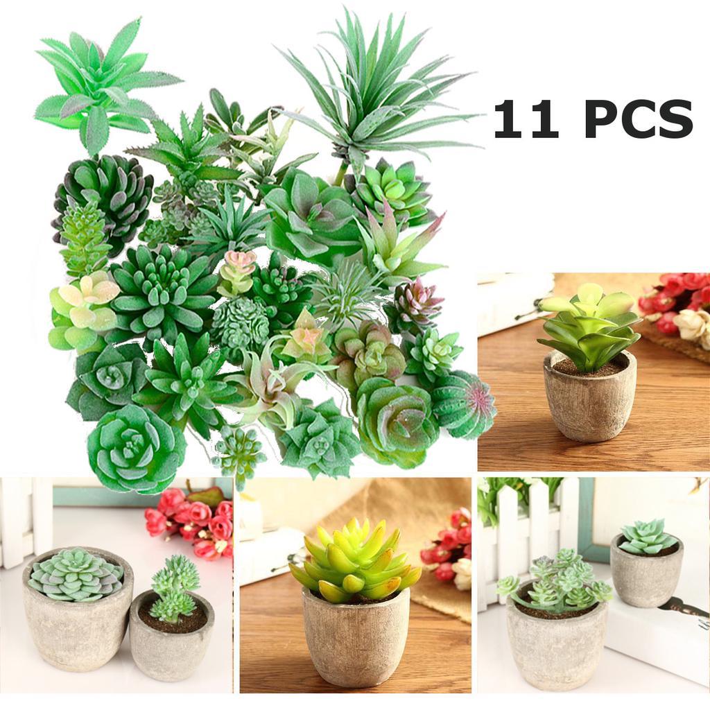 11PCS Artificial Succulent Plants Unpotted Fake Cactus Flocked Stems Home Decor