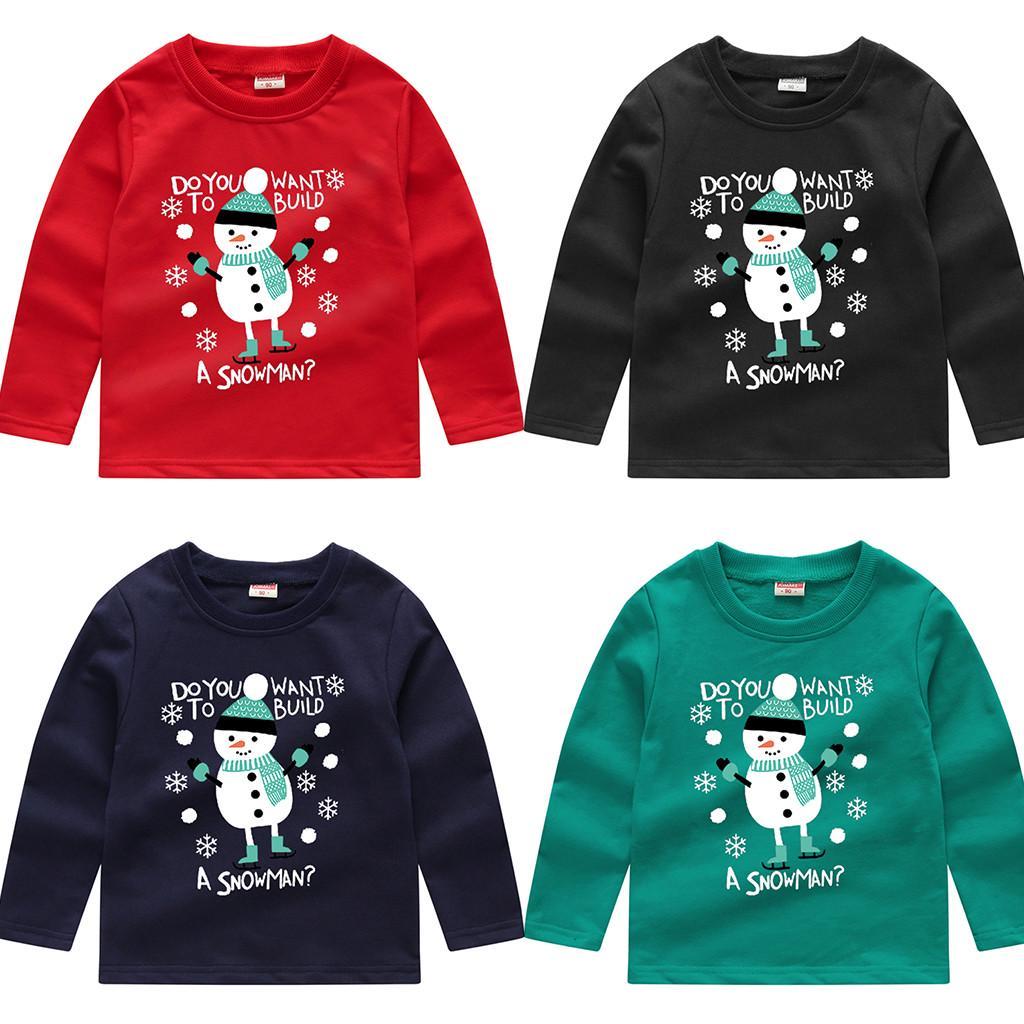 Boys Tops Toddler Baby Kids Boys Girls Christmas Snowman Sweatshirt Pullover Tops T-Shirt jieGorge Blouse for Baby Girls Boys