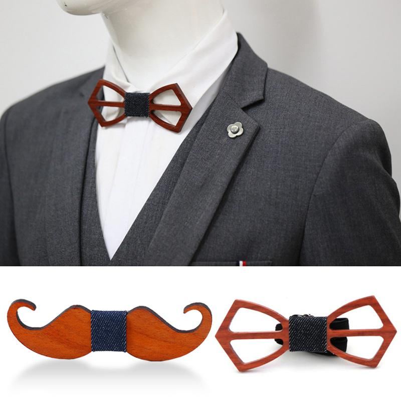 Fashion Handmade Wooden Bow Tie Hollow Out Wooden Necktie Wedding Groom Gift