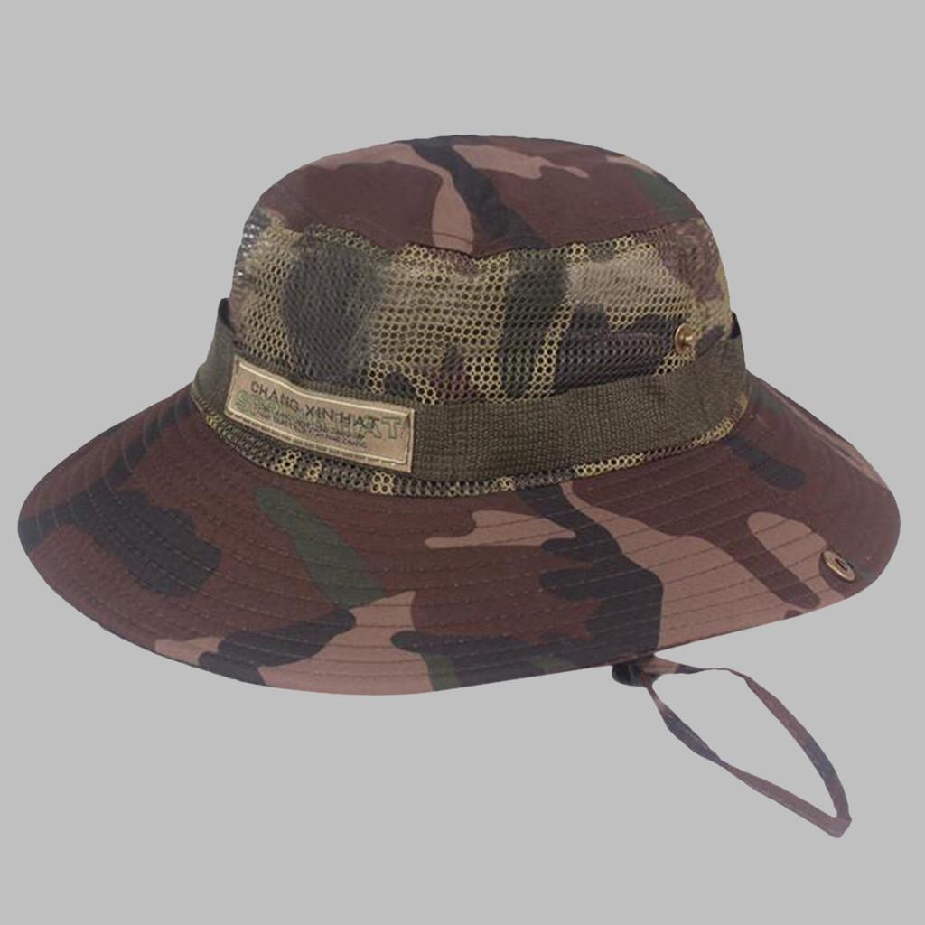 Bsjmlxg Summer Camouflage Fisherman Hat Outdoor Mountaineering Hat Visor Hat with Adjustable Drawstring Hiking Fishing Boating