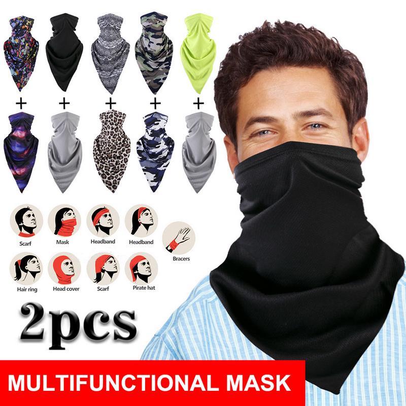 2PCS Ear Loops Neck Gaiter Scarf Half Face Cover Shield Bandana Scarves Headwear