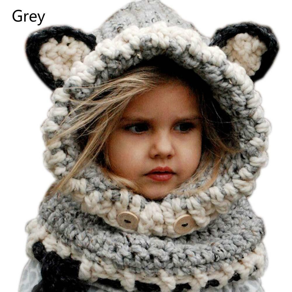 Hand Made Girls Child Baby Grey Fox Ear Hat Winter Warm Woolly Scarf Cute Neck