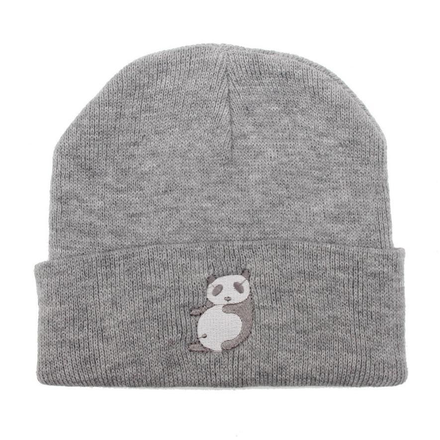 Unisex tejidos invierno sombreros mujeres hombres Panda patrón ...