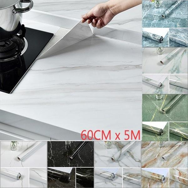 3M / 5M Кухня Мраморная контактная бумага ПВХ наклейки на стены Мраморные наклейки на столешницу Ванная комната Самоклеющиеся водонепроницаемые обои (ширина 60 см) – купить по низким ценам в интернет-магазине Joom