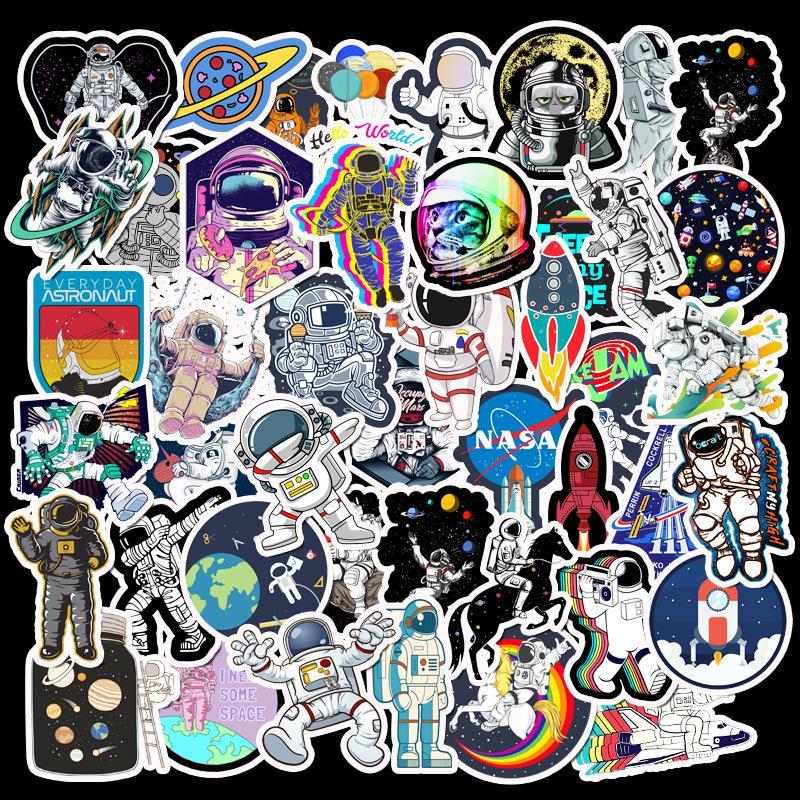 50Pcs Astronaut Space Graffiti Stickers Laptop Skateboard Luggage Cartoon Decals