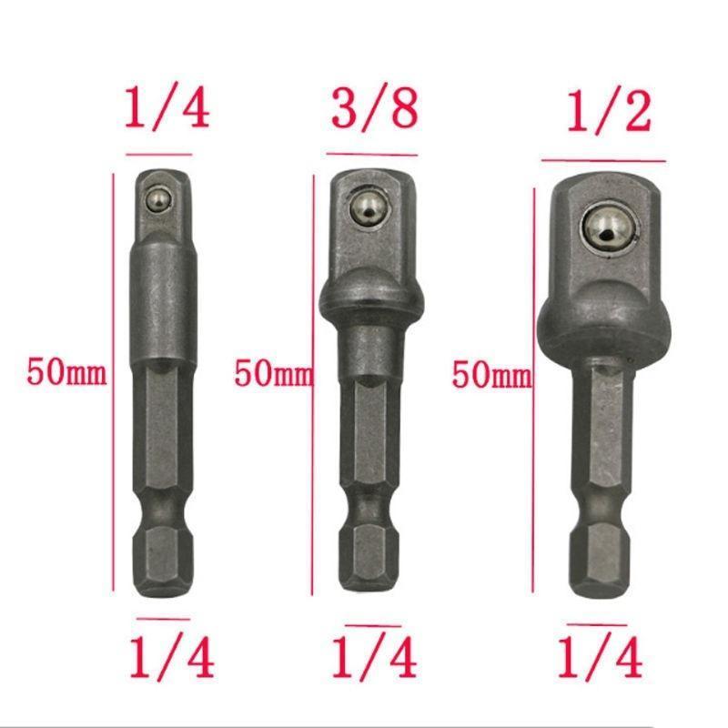 "v Steel Socket Adapter Impact Hex Shank Drill Bits Bar Set 1//4/"" 3//8/"" 1//2/"" Bit"