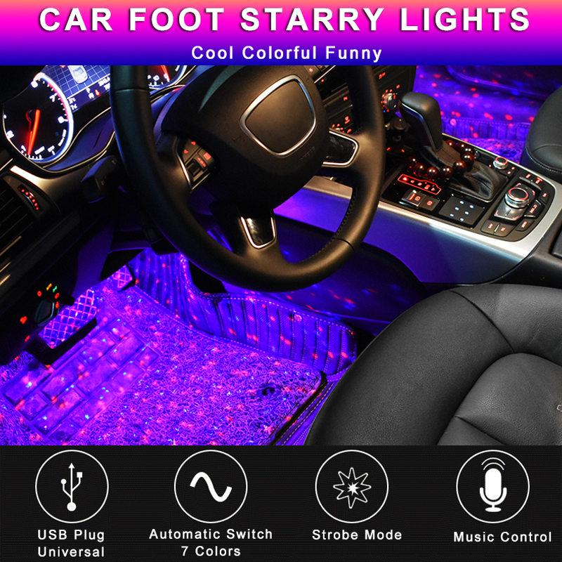 4Pcs 9 LED Red Light Car Interior Atmosphere Floor Underglow Lamp