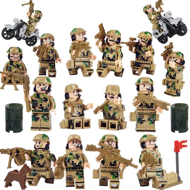 12pcs//set The Eight Route Army Military Soldiers Building Blocks Figures Toys
