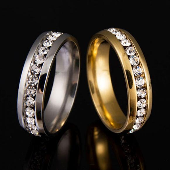 Мужчины женщины пара любитель горный хрусталь титана стальное кольцо Обручальное Свадебные украшения фото